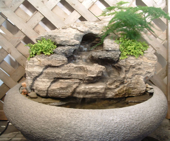 Large Tabletop Fountain W Live Plants #40