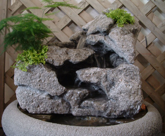 Large Tabletop Fountain w/ Live Plants #39