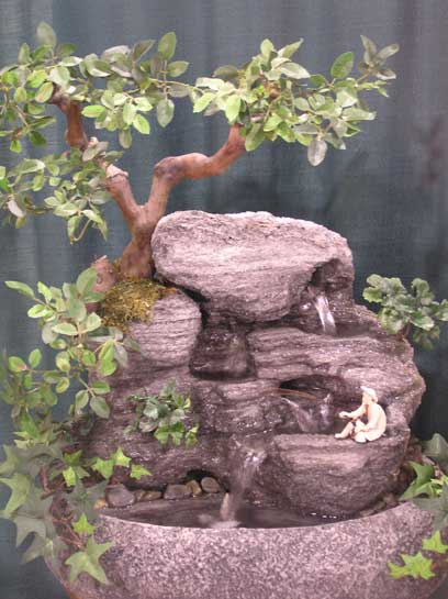 Oriental Serenity Tabletop Water Fountain (Oval Silk w/ Fisherman) ss197