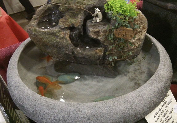 Indoor mini fish pond 18 bowl artificial shrubbery for Artificial fish pond