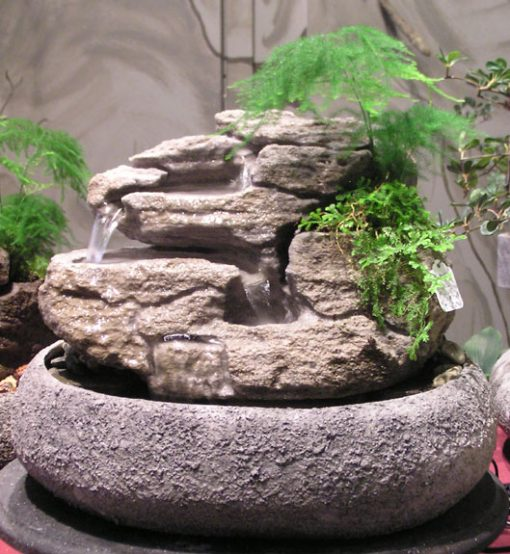 Medium Fountain W Live Plants Ss137 Natural Creations