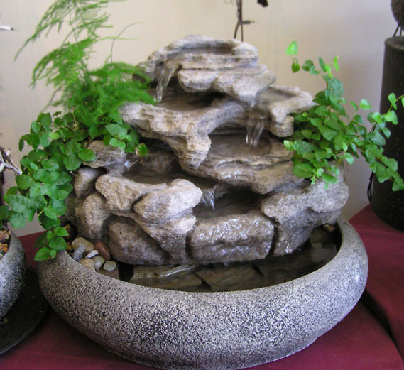 Large Indoor Tabletop Fountain w/Live Plants #46 - Natural Creations